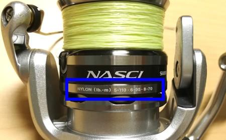 スプールの糸巻量表示