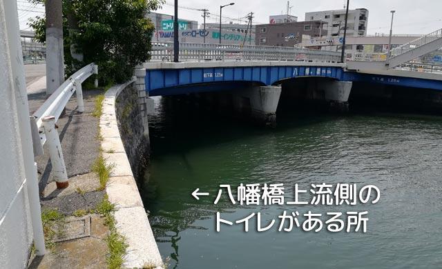 掘割川八幡橋左岸